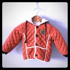 BYC Orange Quilted Puffer Lined Bomber Jacket sz 5